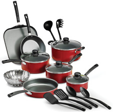 18 Piece Non-stick Aluminum Cookware Set, Complete PrimaWare Cookware, Red Color