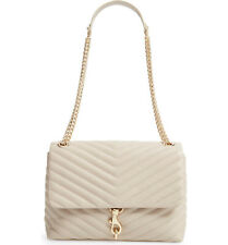 NWT Rebecca Minkoff Edie Quilted Leather Med Shoulder Bag Tahini Beige AUTHENTIC
