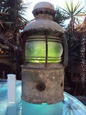 ancienne lampe de bateau en métal et verre ( marine )