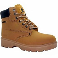 MENS HONEY SAND   TAN NU BUCK  LEATHER  SAFETY BOOTS STEEL TOE CAP  SIZE uk 8