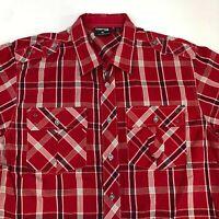 Mecca Button Up Shirt Mens XL Red Short sleeve 100% Cotton Plaid Chest Pockets