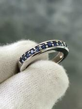 14k White Gold Blue Sapphire Stack Design Band Ring Size 6 1.05ct