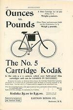 1898 Kodak No. 5 Cartridge Camera & Film Ad Carrying on Bicycle Photography