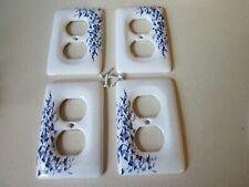 Leviton Porcelain Decorative Blue Vine Flower Receptacle Wallplate Outlet Covers