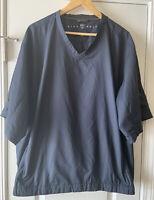 Nike Golf Blue V-Neck Pullover Windbreaker Rain Jacket Pockets XL Short Sleeve