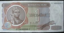ZAIRE 1 UNZAIRE Currency; 1981 Paper Money; Banknote (now Republic of the Congo)