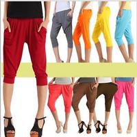 Women Sports Harem Pants Elastic Waist Chiffon Jogging Capris Cropped Trousers
