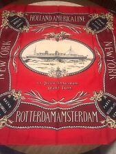 "Holland America Line SS Nieuw Amsterdam 34"" Silk Scarf RED BLACK Ship NEW YORK"