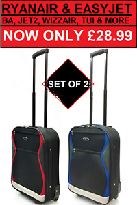 Set of 2 Carry on Suitcases Ryanair EasyJet BA Hand Luggage Cabin Trolley Bag