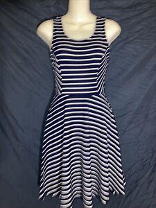 Size Small Lush Navy Blue And White Striped Dress EUC