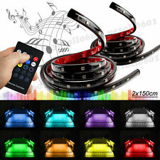 "2x 60"" RGB LED Pickup SUV RV Truck Strip Trunk Cargo Bed Lights Music Neon Lamp"