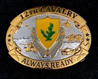 🌟US Army 12th Cavalry Regiment Semper Paratus DUI Belt Buckle, Gold Silver Tone