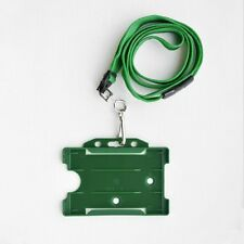 Green ID Card Holder & Green Neck Strap Lanyard With Metal Clip