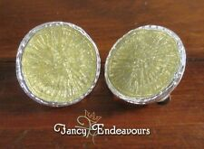 NWT Dolce Vita Modernist Silver & Yellow Glitter Round Clip On Earrings
