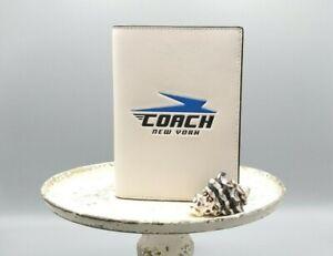 COACH 73082 Men's Vintage White Leather Passport holder Wallet Case
