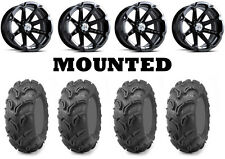 Kit 4 Maxxis Zilla Tires 27x10-14 on MSA M12 Diesel Black Wheels FXT