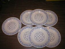 7 VINTAGE STAMPED OXFORD BLUE MADE IN BRAZIL 9 1/4 LUNCHION SALAD PLATES