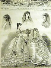 Victorian LADIES BRIDAL DRESSES & HAIR STYLES 1868 Art Matted