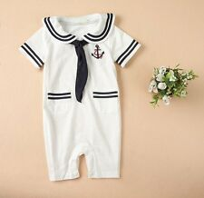 Baby Boy Girl Sailor Halloween Fancy Dress Costume Outfit Suit+HAT Set 6-24M