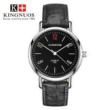 Men Women Couple Watch Leather Quartz Dial Wrist Watches Black White Simple New