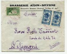Turkey cover Smyrna to Delémont Switzerland 11.1.1923