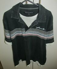 French Conncection FCUK Black with Stripes Polo Shirt Mens Size Medium