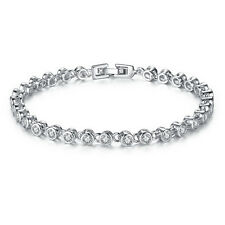 cute White Gold Filled Silver Round Crystal womens Cuff Chain Bracelet Jewelry