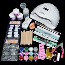 Gel Polish Nail Art Kit Set 80W UV Lamp Light 12 Color Varnish Glitter Powder