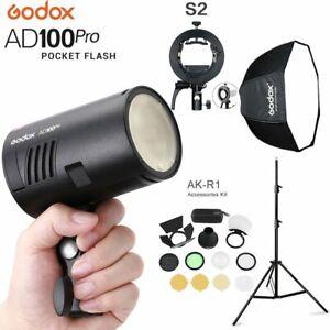 DE Godox AD100Pro 2.4G TTL HSS Blitz  +AK-R1 +S2 Halter +Stativ +Schirm Softbox
