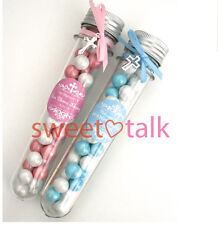 BAPTISM, CHRISTENING, CONFIRMATION FAVOUR WITH CHOCOLATES - CANDY TUBE, LOLLY