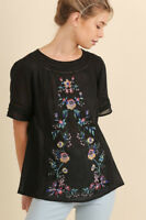 Umgee Floral Embroidered Boho Bohemian Blouse Top Black Flowers - USA seller