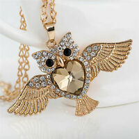 Owl Pendant Long Sweater Chain Animal Necklace Women Rhinestone Jewelry