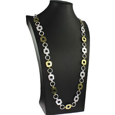Eye catching antique brass and silver colour square link vintage long necklace