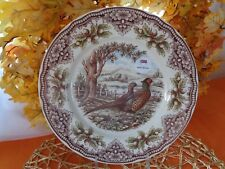 THE VICTORIAN ENGLISH POTTERY PHEASANT WOODLAND SIDE SALAD PLATES SET OF 4 NEW