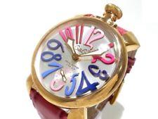 Auth GAGA MILANO Carica Manuale Silver Pink PinkGold N.4010 Unisex Wrist Watch