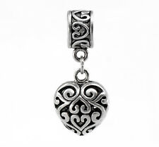 Filigree Dangle Heart Charm Antique Silver With Bail Bead for European Bracelets