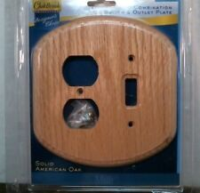 Oakbrook 48381 Solid American Oak Combination Switch & Outlet Plate, Oval Shape