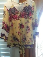 NEW W TAG Fig & Flower 1X Anthropologie Yellow Floral Top w Waist Knot