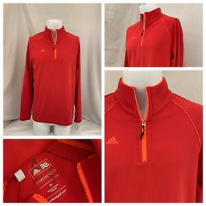 Adidas PureMotion Golf Pullover M Red Pink 1/4 Zip Mint Cond YGI Q1-532
