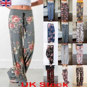 UK Boho Women Wide Leg Long Loose Pants Soft Yoga Lounge Sports Palazzo Trousers