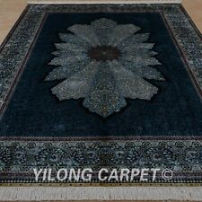 YILONG 6.56'x9.84' Persian Hand Knotted Silk Rug Living Room Unique Carpet 0309