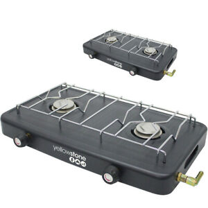 NEW DOUBLE GAS BURNER WITH DOUBLE HOB CAMPING HIKING PORTABLE COOKING BBQ STOVE
