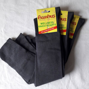 3 Pair Women's Bamboo Knee Socks Soft And Supersoft Grey 35 To 42