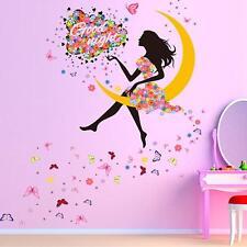 PVC Romance Flower Fairy Princess Moon Girl Wall Sticker Removable Home Decor