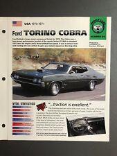"1970 - 1971 Ford Torino Cobra IMP ""Hot Cars"" Spec Sheet Folder Brochure Awesome"