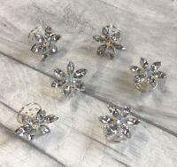 AB Silver Crystal Hair Coils Swirls Spirals Twists Pins for Bride Wedding Prom