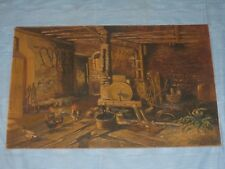 1913 WILLI SANDER INTERIOR BARN SCENE WITH CHICKENS OIL PAINTING ON MASONITE