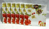 """222 Fifth Bouquet Le Fleur 8"""" Square Porcelain Salad Plates Set of Six New"""