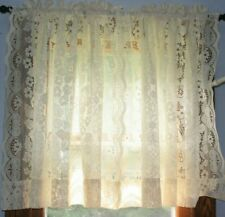 """2 JC PENNEY 37.5""""L X 60"""" W IVORY LACE PANEL CURTAIN FLORAL ROD POCKETS"""