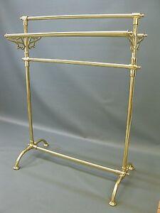 Retro Handtuchhalter massiv Messing 66cm Handtuchständer luxus Badzubehör golden